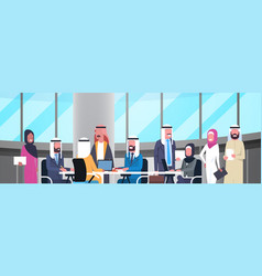 group of happy smiling arabic business people vector image vector image