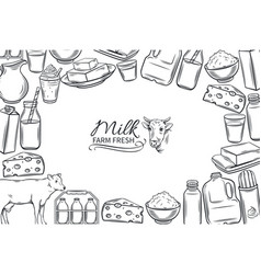 hand drawn milk products vector image