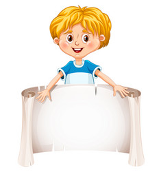 little boy holding a blank sheet vector image vector image