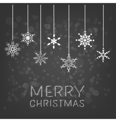 Merry Christmas background with hanging snowflake vector image