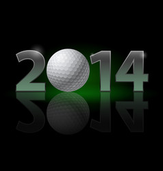 New year 2014 metal numerals with golf ball vector