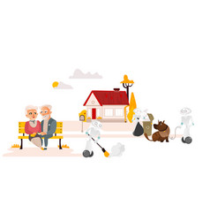 Robots free people from housework countryside vector