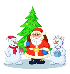 Santa Claus Christmas tree and snowmans vector image