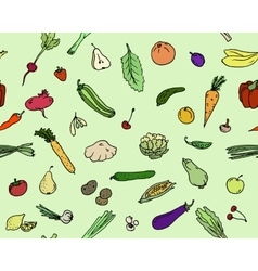 Seamless pattern Fruits and vegetables Sketch set vector image vector image