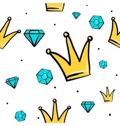 Seamless pattern with princess queen crown vector