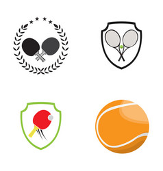 set of tennis and ping pong vector image vector image