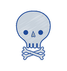 Skull with bones to danger and warning symbol vector