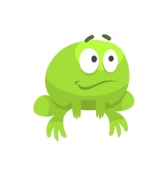 Smiling hopeful big-eyed green frog funny vector