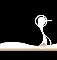 Spilling the coffee silhouette black background vector