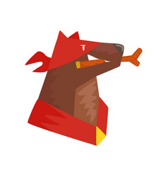 Superhero dog character with wooden stick in its vector