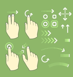 Touch screen gesture hand signs and movement vector image vector image
