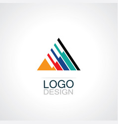 triangle stripe logo vector image