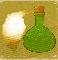 Vintage card with a picture green bottle of poison vector image vector image