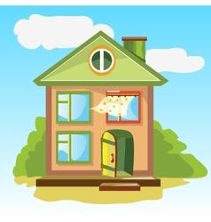 Welcoming home with an open door vector