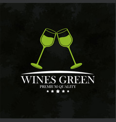 Wines green premium quality emblem vector