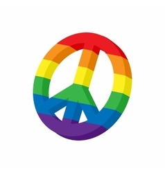 Lgbt peace sign icon cartoon style vector