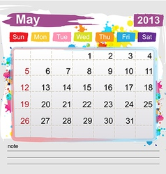 Calendar May 2013 vector image