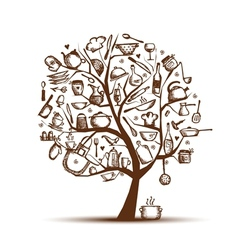 Art tree with kitchen utensils sketch drawing for vector image