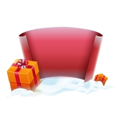 Red scroll and gift boxes in snow Template for vector image