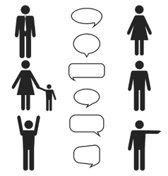people black icons and speech bubbles set vector image