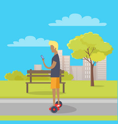 boy riding on two wheeled mini segway in park vector image