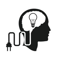 Head brain idea bulb plug engine vector