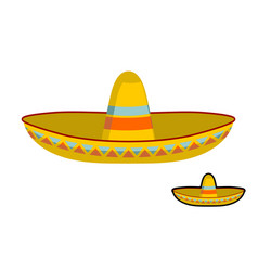 Sombrero isolated colorful mexican hat ornament vector