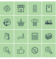 set of 16 e-commerce icons includes dollar vector image
