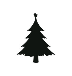 silhouette pine tree with star christmas vector image