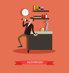 Alcoholic in flat style vector