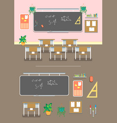 Cartoon classroom design interior and element set vector
