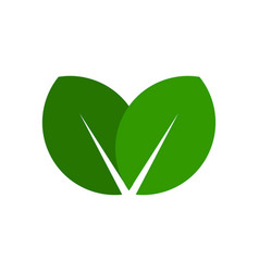 Green leaf icon simple eco logo vector