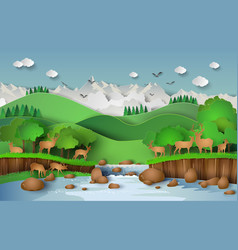 deers in the forest vector image