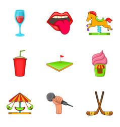 singing icons set cartoon style vector image