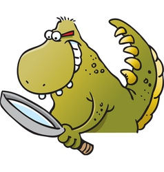 Cartoon dinosaur holding a magnifying glass vector