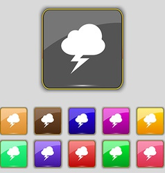 Storm icon sign set with eleven colored buttons vector