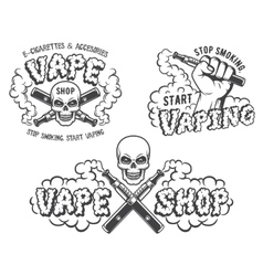 Set of vape e-cigarette emblems vector