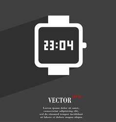 Wristwatch symbol flat modern web design with long vector