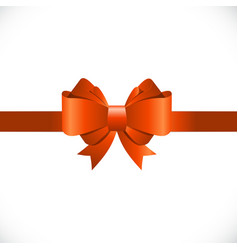 Gift card with orange bow and ribbon vector