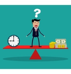 Businessman making decision between time or money vector