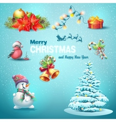 A set of Christmas items Christmas tree lanterns vector image vector image