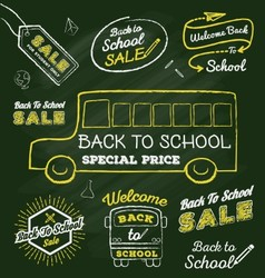 Back to school doodle label set on chalkboard vector