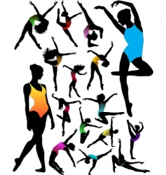 ballet dancer silhouettes vector image vector image