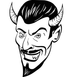 black and white devil head vector image vector image