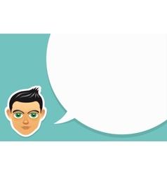Boy face with speech bubble vector image