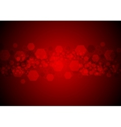 Bright glowing red hexagons tech background vector