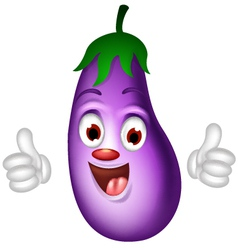 cartoon eggplant giving thumbs up vector image vector image