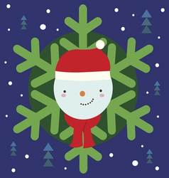 Christmas holiday print with snowman vector