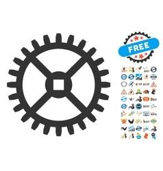 Clock gear icon with 2017 year bonus pictograms vector