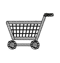 Color crayon stripe cartoon shopping cart with vector